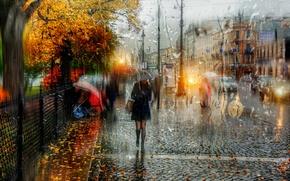 Picture girl, drops, umbrella, Saint Petersburg, Autumn rain