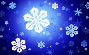 Wallpaper snowflakes, vector, Blue