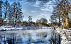 Picture winter, the sky, water, frost