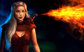 Picture girl, fire, dragon, art, Game of Thrones