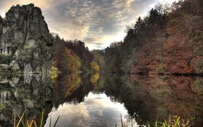 Wallpaper lake, rock, trees, water, autumn