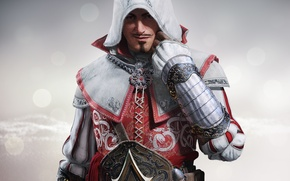 Picture mustache, look, sign, steel, hood, gloves, armor, sword, killer, grin, Ubisoft, blade, Assassins Creed: Identity, …
