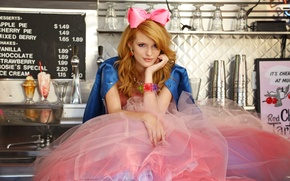 Picture girl, pose, skirt, actress, red, bow, sitting, bangs, Bella Thorne, Bella Thorne