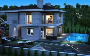Picture night, design, house, photo, pool, mansion, 3D graphics