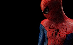 Picture the film, spider-man, spider-man, hero, costume, black background, character