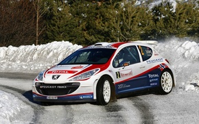 Picture Winter, Snow, Sport, Turn, Race, Skid, Peugeot, WRC, Rally, Rally, 207
