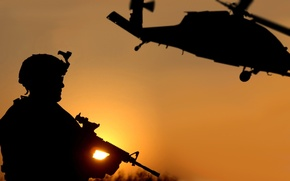 Wallpaper Army, Soldiers, Weapons, Helicopter, Sunset, War, Black