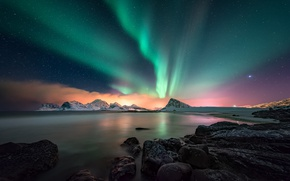 Wallpaper sea, the sky, mountains, night, Northern lights, North