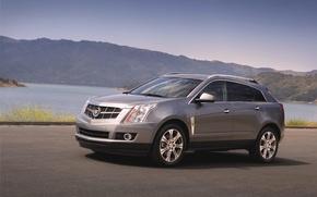 Picture Cadillac, Auto, Mountains, Lake, Machine, Grey, Day, SUV, SRX