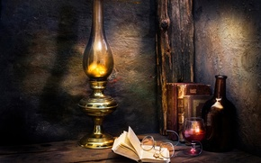 Picture cross, books, Those were the days, glasses, wine, lamp