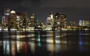 Picture the city, river, night lights, Boston night