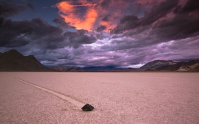 Picture the storm, the sky, mountains, clouds, stone, trail, the evening, CA, USA, Death Valley, National …