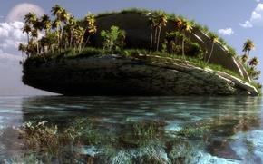 Picture sea, water, landscape, palm trees, rocks, island, art, klontak