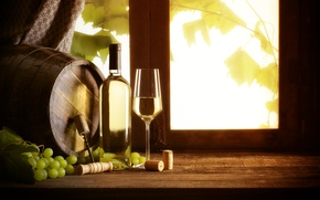 Wallpaper bottle, barrel, window, glass, wine, corkscrew, tube, white, grapes, vine