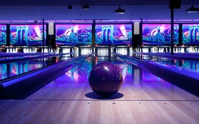 Picture ball, track, skittles, Bowling ball