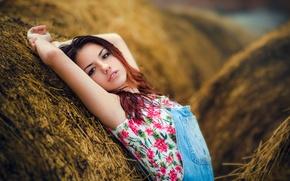 Picture girl, sweetheart, hay, girl, brown hair, beautiful, jumpsuit, model, Delaiah Gonzalez