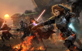 Wallpaper Star Wars, Star Wars, Attack, War, The Old Republic, Lightsabers