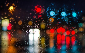 Picture lights, bokeh, rainy, globes