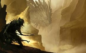Picture mountains, dragon, warrior, bow, gorge, arrows, Archer, sneaks