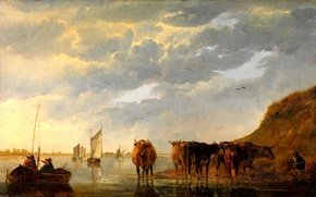 Picture the sky, landscape, river, people, boat, picture, sail, Shepherd with five cows on the river, …