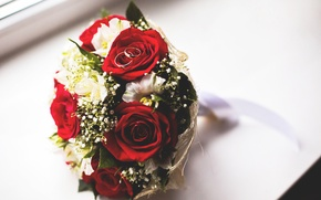 Picture roses, bouquet, ring, red, wedding, Roses, ring, wedding, eustoma, Bouquets