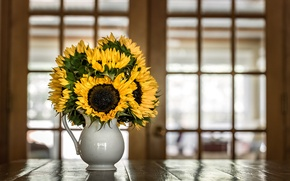 Wallpaper sunflowers, bouquet, pitcher