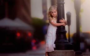 Picture girl, dress, post, bokeh, the city
