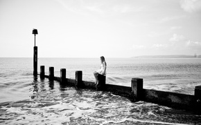 Picture sea, the evening, mood, girl