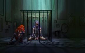 Picture girl, art, guy, fantasy, prison, conclusion
