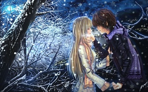 Wallpaper snow, art, guy, pair, the moon, tree, girl, emotions, scarf, night, tears