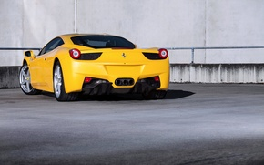 Picture yellow, wall, ferrari, Ferrari, yellow, Italy, 458 italia, back