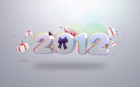 Wallpaper background, holiday, new year, figures, gifts, 2012, bow, happy new year