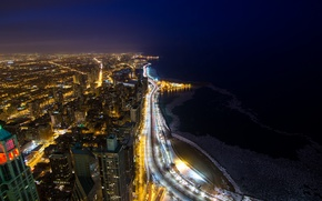 Picture night, the city, lights, lake, coast, building, home, skyscrapers, Chicago, Michigan, panorama, USA, USA, Il, …