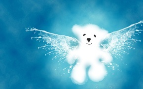 Picture blue, wings, Bear