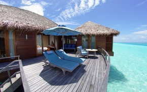 Picture summer, the sky, landscape, nature, house, the ocean, stay, Wallpaper, wallpaper, the Maldives, sunbeds, the …