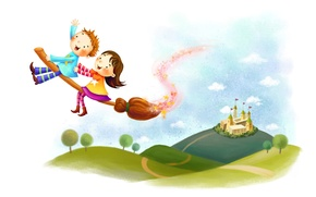 Picture clouds, trees, childhood, castle, fantasy, hills, magic, figure, boy, girl, broom