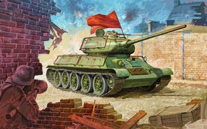 Picture figure, medium tank, the red army, Panzerfaust, red flag, T-34/85