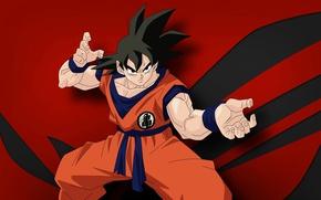 Picture red, game, anime, power, Asus, hero, martial artist, manga, japanese, god, Son Goku, kimono, oriental, …