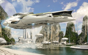 Picture sea, nature, future, view, spaceship
