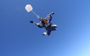Picture the sky, blue, glasses, parachute, container, skydivers, tandem, extreme sports, parachuting, pilote chute
