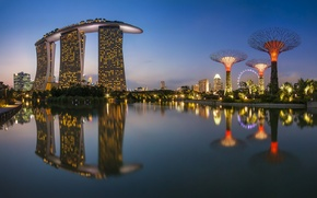 Picture sea, night, the city, lights, reflection, building, Singapore, Ferris wheel