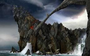Picture waterfall, Rocks, battle
