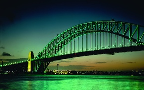 Picture green, The evening, Lights, Bridge