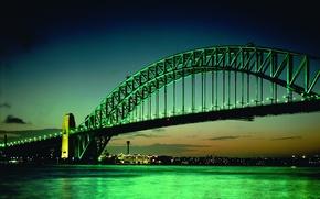 Wallpaper green, The evening, Lights, Bridge