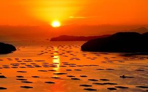 Picture landscape, sunset, Japan, Okayama