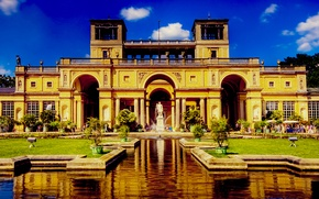 Picture Park, House, fountain, statue, Mansion
