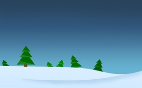 Picture winter, forest, minimalism, vector, Tree