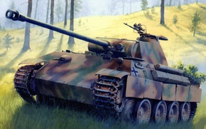 Picture war, art, painting, Panzerkampfwagen V Panther, tank, ww2, german tanks