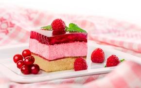 Picture berries, raspberry, cake, piece