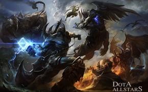 Picture battle, Dota Allstars, warriors, art, demons